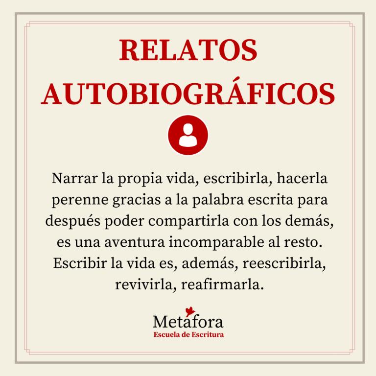 TALLER DE RELATOS AUTOBIOGRÁFICOS